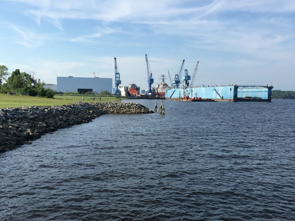 The Department of the Navy in Bath is seeking a 10-year permit from the U.S. Army Corps of Engineers to dredge portions of the Kennebec River federal navigation channel. The river is dredged periodically to ensure it's deep enough for BIW-built ships to sail from Bath to open ocean.