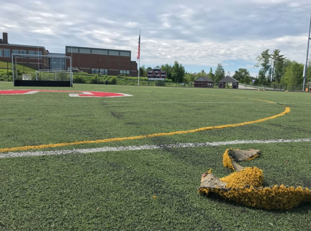 "Scarborough police said evidence was recovered from the damaged athletic field and a ""vehicle of interest"" has been impounded in connection with the vandalism that occurred early Tuesday morning."
