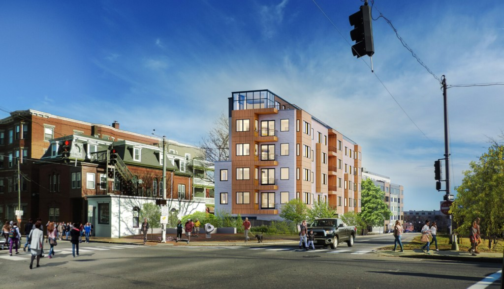 In a rendering by Archetype Architects,Verdante is seen from the intersection of Congress and Franklin streets.