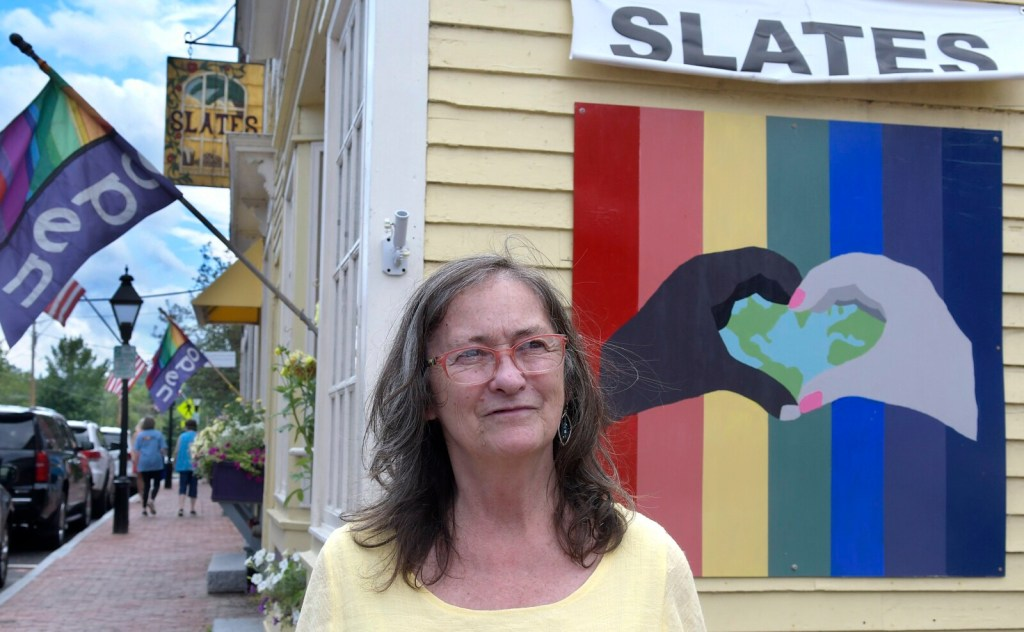 Wendy Larson, at her Hallowell restaurant Slates, on Thursday. The lifelong advocate for civil rights and equality has been responding to an online backlash from social media posts accusing her of sympathizing with Nazis.