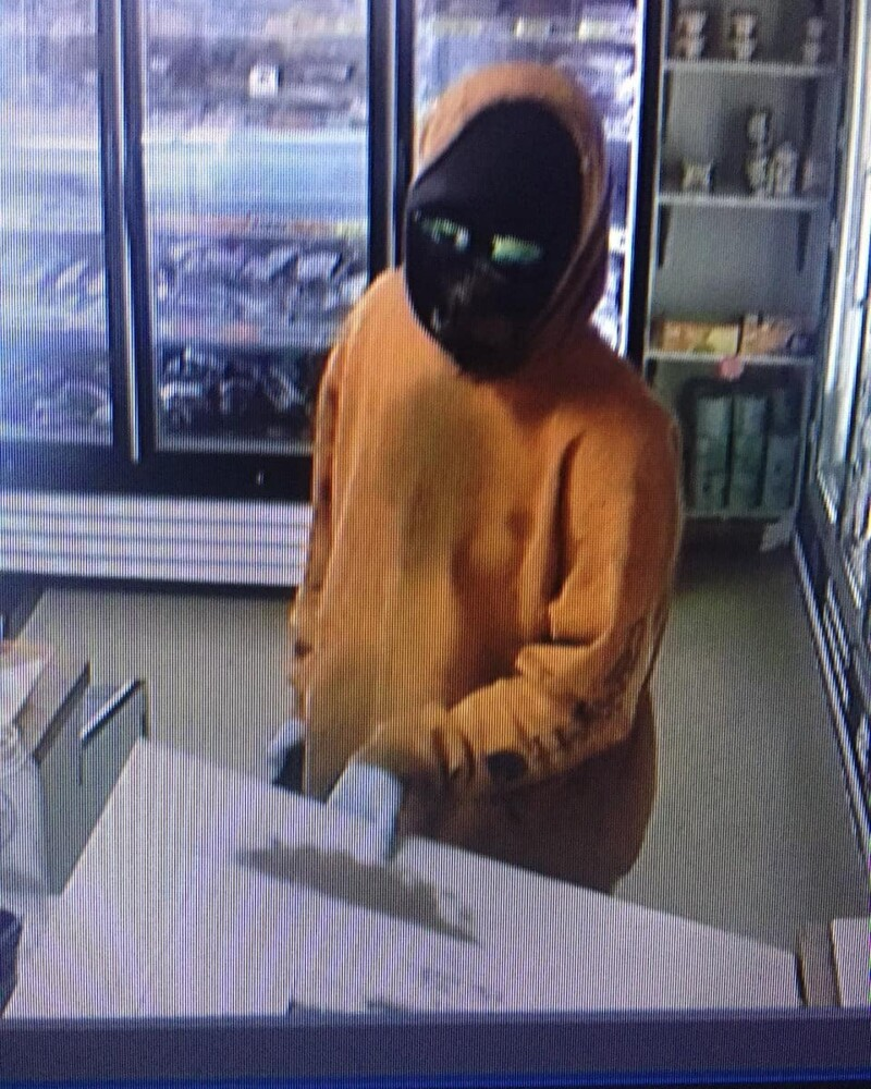 Surveillance image of suspect in robbery of Rich's Pizza in Pittsfield Tuesday afternoon.