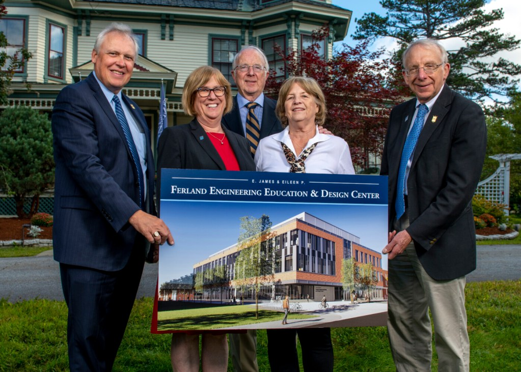 "The new Engineering Education and Design Center at the University of Maine will be named for Skowhegan natives E. James ""Jim"" Ferland and Eileen P. Ferland, whose $10 million investment will help construct the facility. On hand for Thursday's announcement at the university were, from left, University of Maine Foundation president and CEO Jeffery Mills; UMaine President Joan Ferrini-Mundy; Jim and Eileen Ferland; and UMaine College of Engineering Dean Dana Humphrey."