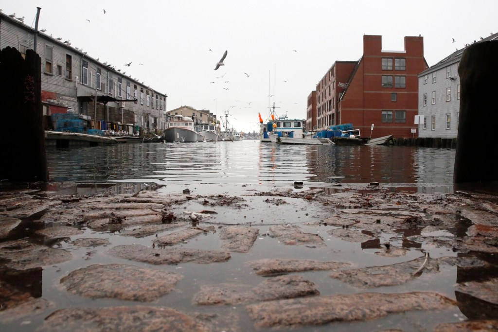 The cobblestones between the Custom House Wharf and Portland Pier were nearly covered at high tide after a storm in November 2018. City planners are proposing to reward developers who take sea level rise into account when they build in flood-prone areas of the city.