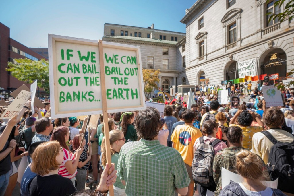 People packed City Hall Plaza in Portland on Sept. 20 to call for action on climate change.