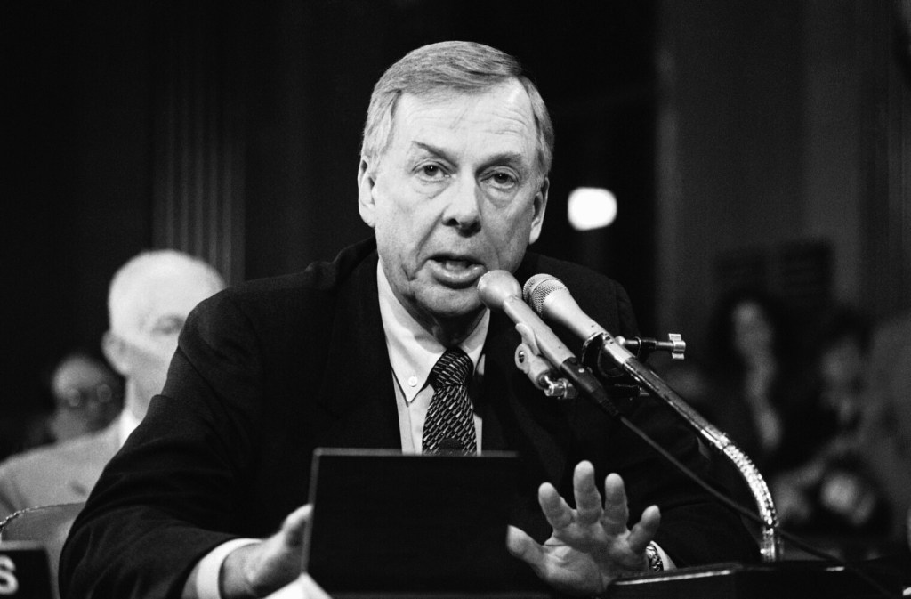 T. Boone Pickens speaks at the Helmsley Palace Hotel in New York on Dec. 29, 1984. Pickens, who amassed a fortune as an oil tycoon and corporate raider and gave much of it away as a philanthropist, has died.
