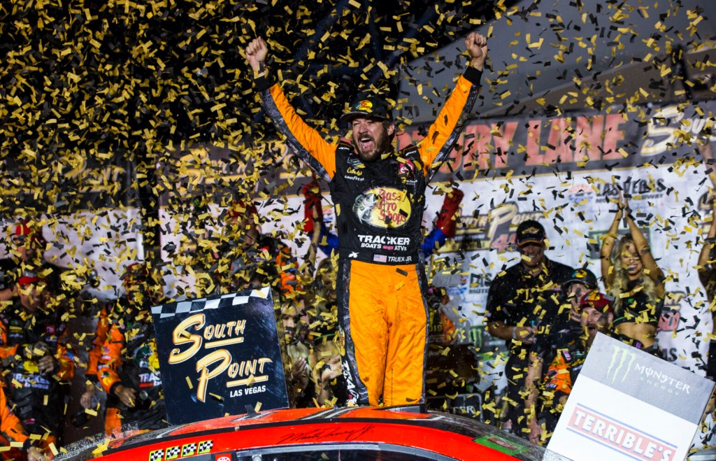 Martin Truex Jr. celebrates after winning  the first race of the NASCAR Cup Series playoffs on Sunday in Las Vegas.