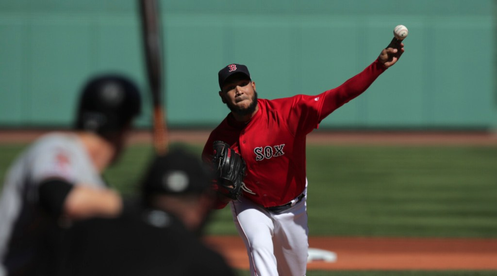 Boston pitcher Eduardo Rodriguez struck out 10 and earned his 18th win of the season on Thursday against San Francisco Giants at Fenway Park in Boston,
