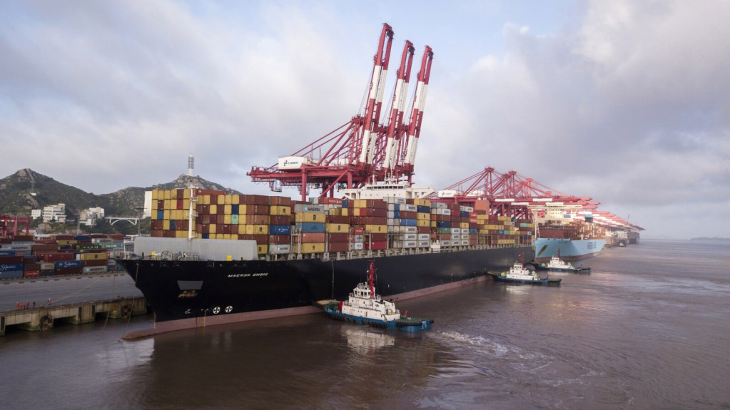 The Soro Enshi container ship at the Yangshan Deep Water Port in Shanghai on July 10, 2018. A spokesman for China's Ministry of Commerce says the country welcomes the postponement of U.S. tariffs as a goodwill gesture and that teams will meet soon to prepare for higher level talks.