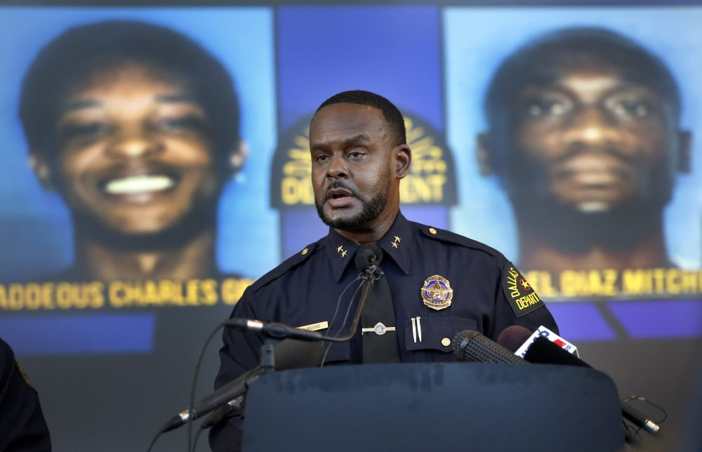 Dallas Assistant Chief of Police Avery Moore addresses the media about a drug deal gone bad resulting in the death of Joshua Brown, on Tuesday. Jacquerious Mitchell is in custody and police are still looking for suspects Thaddeous Green and Michael Mitchell. Brown, who was a neighbor of Botham Jean at the South Side Flats, was also a character witness in the Amber Guyger trial.