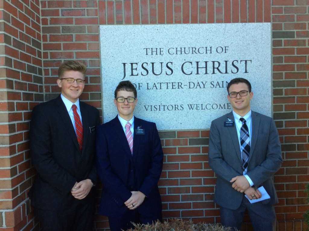 From left are Elders Jon O'Rourke, Bryant Pace and Noah Hunter. They will host an open house discussion Nov. 5 in Monmouth.