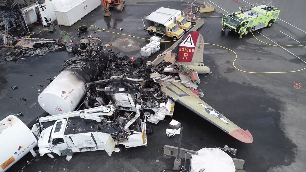 A World War II-era B-17 bomber plane crashed and burned Oct. 3 at  Bradley International Airport in Connecticut after experiencing mechanical trouble.