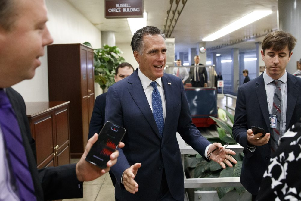 "Sen. Mitt Romney, R-Utah, shown last month, said Friday, ""By all appearances, the President's brazen and unprecedented appeal to China and to Ukraine to investigate Joe Biden is wrong and appalling."""
