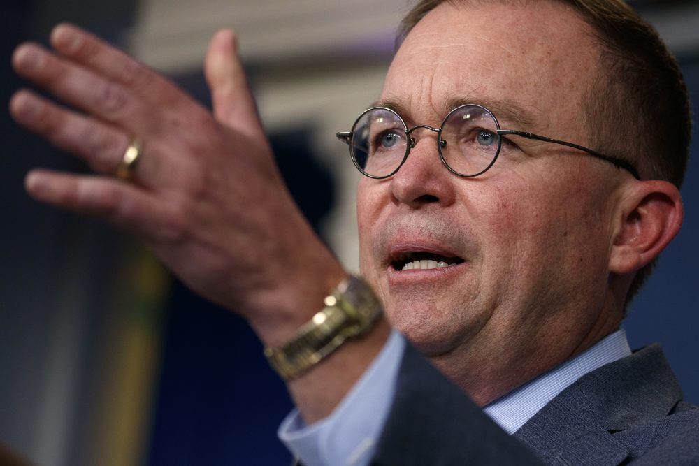 White House acting Chief of Staff Mick Mulvaney  told reporters Thursday that President Trump blocked nearly $400 million in military aid to Ukraine in part to force the government in Kiev to investigate his political rivals, a startling acknowledgment after the president's repeated denials of a quid pro quo.