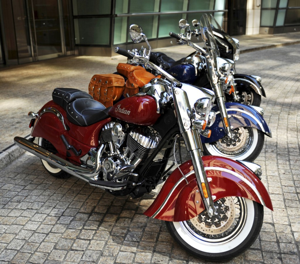 Indian Chief motorcycles are displayed in 2013 in New York.