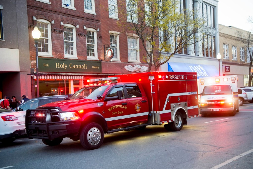 Units from Waterville Fire and Delta Ambulance respond to a medical call on Main Street in downtown Waterville.