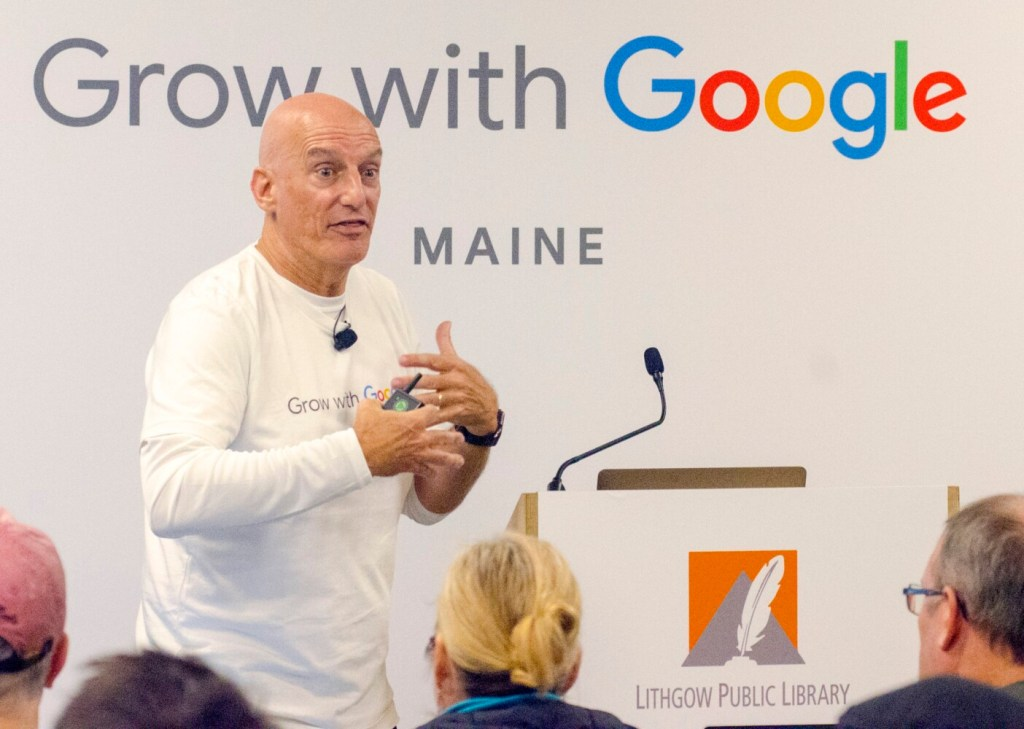 Google trainer Matt Weber teaches during the Grow With Google workshop at Lithgow Public Library in Augusta on Thursday.