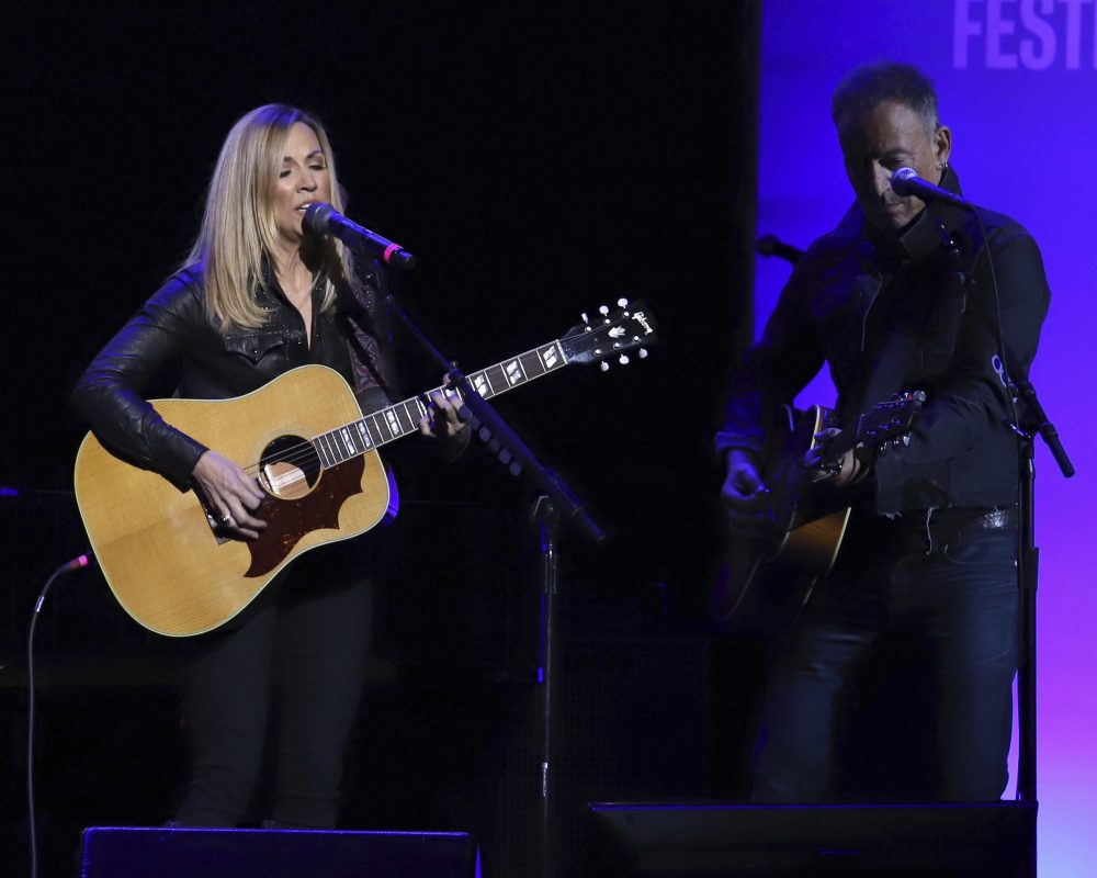 Sheryl Crow, left, and Bruce Springsteen perform at the 13th annual Stand Up For Heroes benefit concert in support of the Bob Woodruff Foundation at the Hulu Theater at Madison Square Garden on Monday, Nov. 4, 2019, in New York.