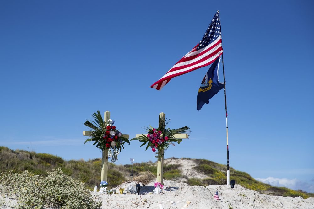 A makeshift memorial for James and Michelle Butler was erected on Padre Island Beach, Texas. The Butlers' deaths are being investigated as homicides. Their bodies were found last week in a shallow grave on Padre Island, near Corpus Christi, Texas.