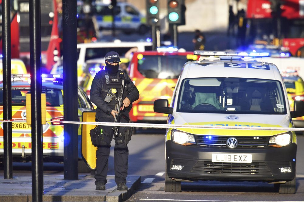 Armed police at the scene of an incident on London Bridge in central London following a police incident Friday