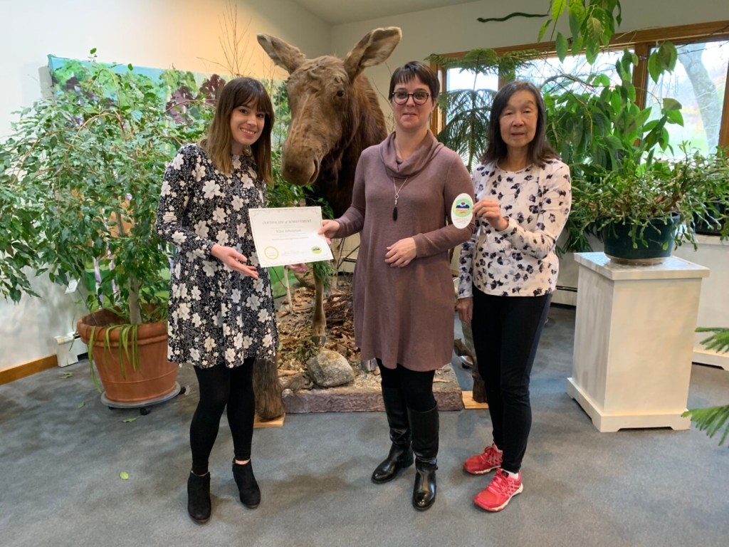 From left are Katy Mendenhall, Viles operations manager; Sara Grant, chairwoman of the Augusta Age Friendly Committee; and Sammee Quong, president of the Viles Arboretum Board.