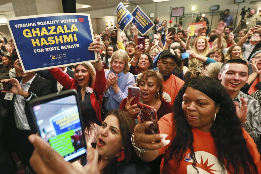 Democratic supporters cheer at their party in Richmond, Va., on Tuesday. All seats in the Virginia House of Delegates and state Senate were up for election.