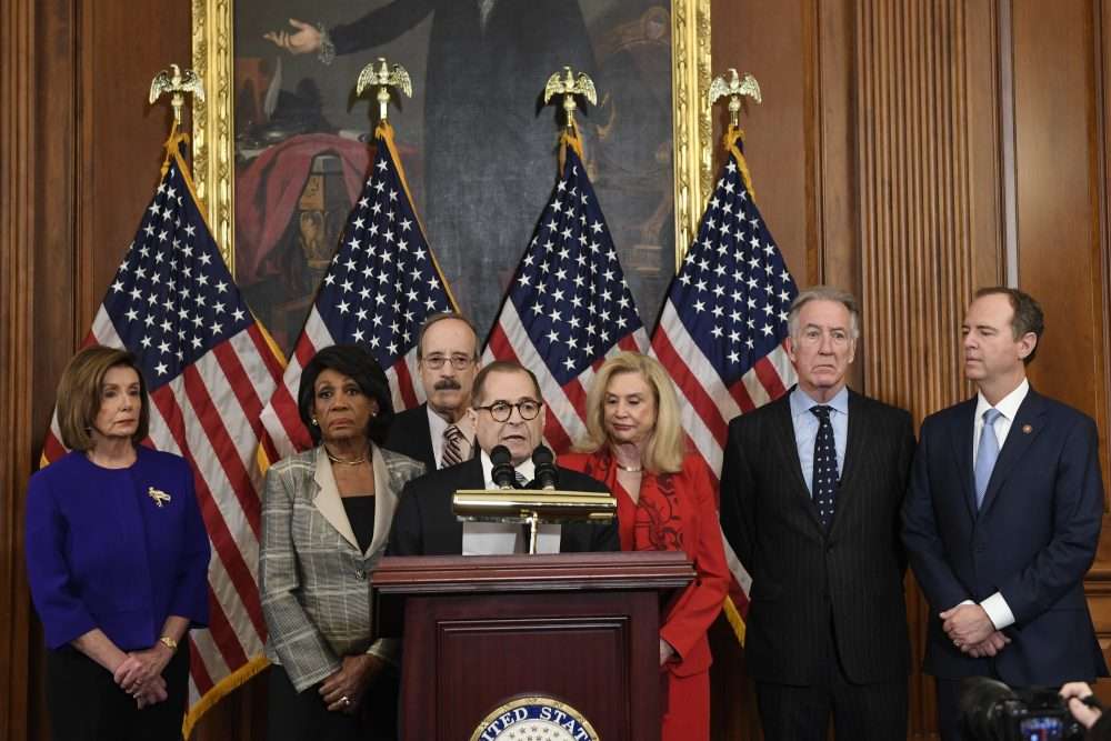 From left House Speaker Nancy Pelosi, Chairwoman of the House Financial Services Committee Maxine Waters, D-Calif., Chairman of the House Foreign Affairs Committee Eliot Engel, D-N.Y., House Judiciary Committee Chairman Jerrold Nadler, D-N.Y., Chairwoman of the House Committee on Oversight and Reform Carolyn Maloney, D-N.Y., House Ways and Means Chairman Richard Neal and Chairman of the House Permanent Select Committee on Intelligence Adam Schiff, D-Calif., unveil articles of impeachment against President Donald Trump, during a news conference on Capitol Hill in Washington, Tuesday, Dec. 10, 2019.(AP Photo/Susan Walsh)