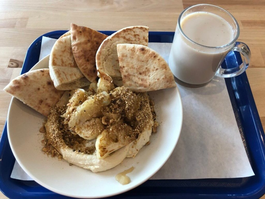 The cauliflower hummus bowl at Nura Hummus and Falafel Bar. The restaurant, which is 90 percent vegan, grew out of the Falafel Mafia food truck.