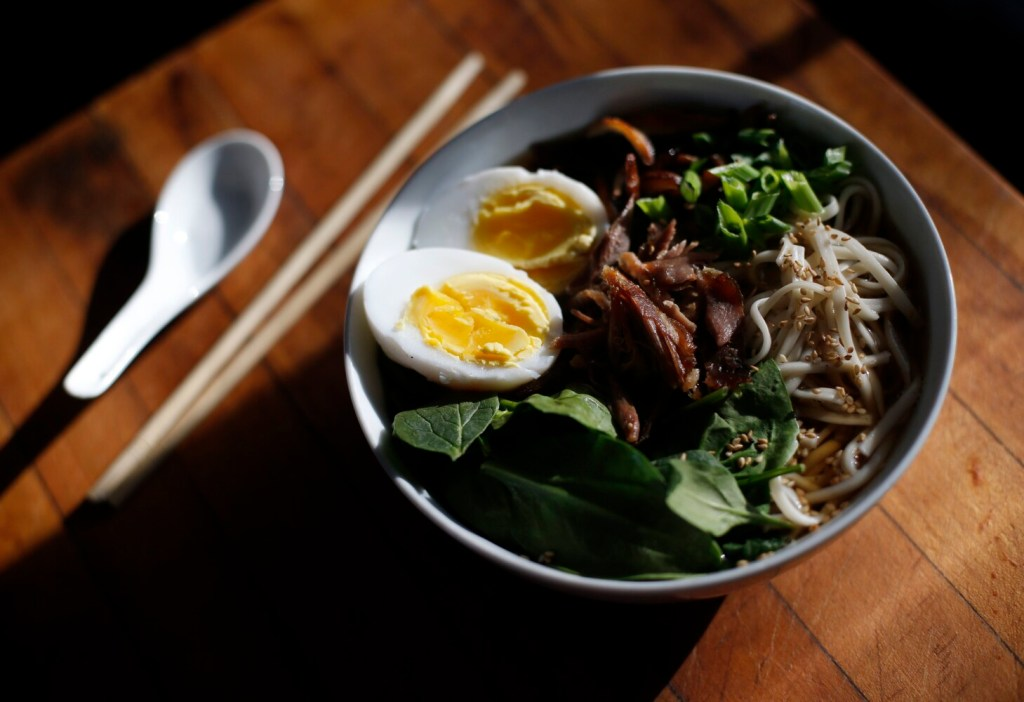 Duck, Duck Soup: ramen with duck stock, duck eggs and duck meat.
