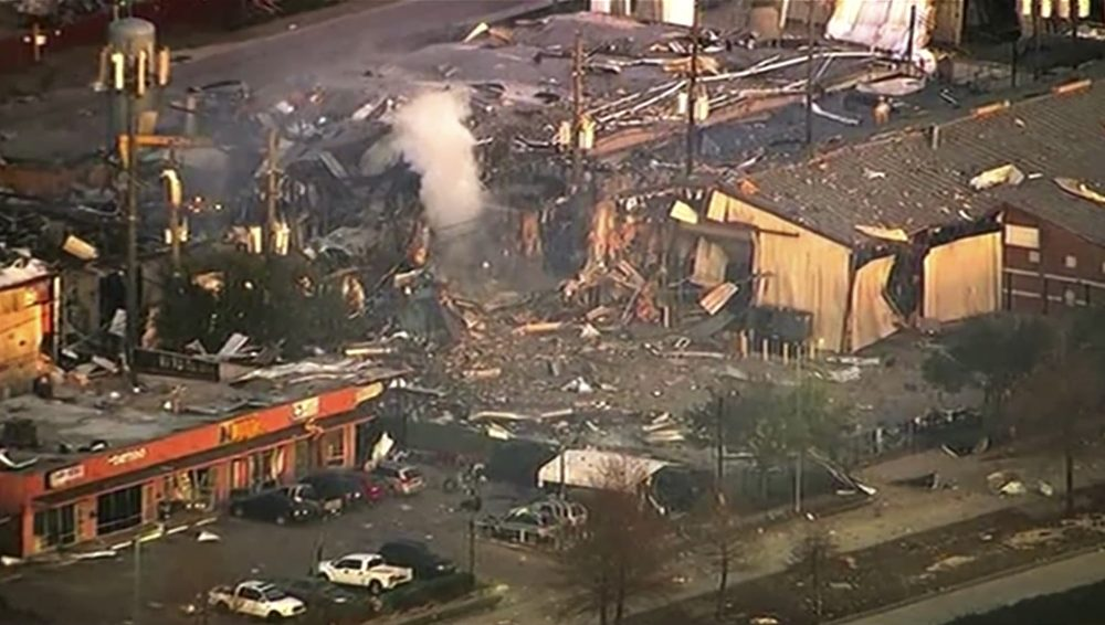 This aerial photo taken from video provided by KTRK-TV shows damage to buildings after an explosion in Houston on Friday, Jan. 24.