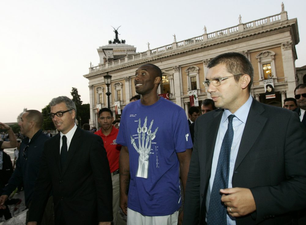 """In this Sept. 29, 2011, file photo, U.S. basketball player Kobe Bryant arrives at the Campidoglio, or capitol hill, in Rome, Italy. In Europe where Bryant grew up, the retired NBA star is being remembered for his """"Italian qualities."""""""