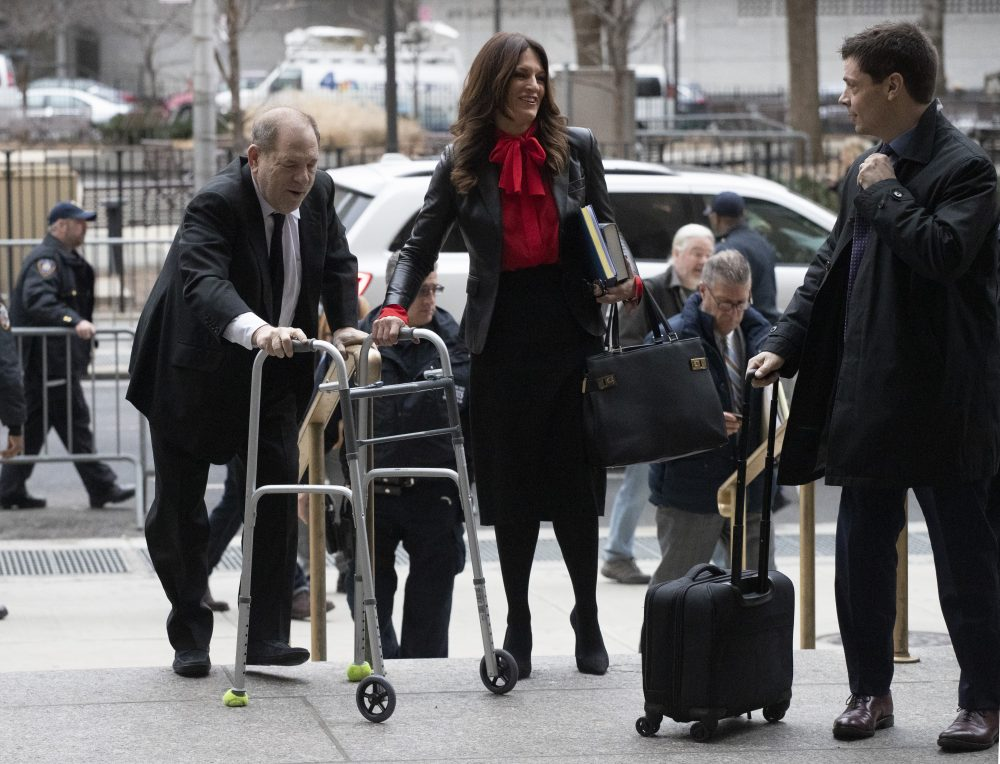 Harvey Weinstein, left, arrives at court with his attorneys Donna Rotunno, center, and Damon Cheronis to attend jury selection for his sexual assault trial, Friday, Jan. 10, 2020 in New York.