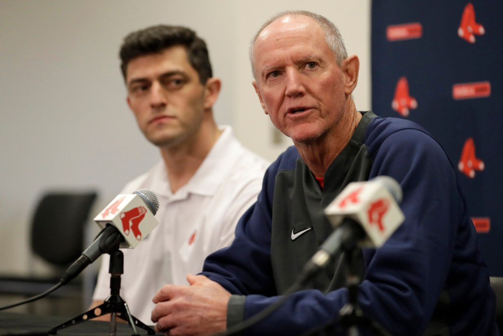 Ron Roenicke, right, speaks as Red Sox Chief Baseball Officer Chaim Bloom looks on after Roenicke was named the interim manager of the Boston Red Sox on Tuesday in Fort Myers, Florida.
