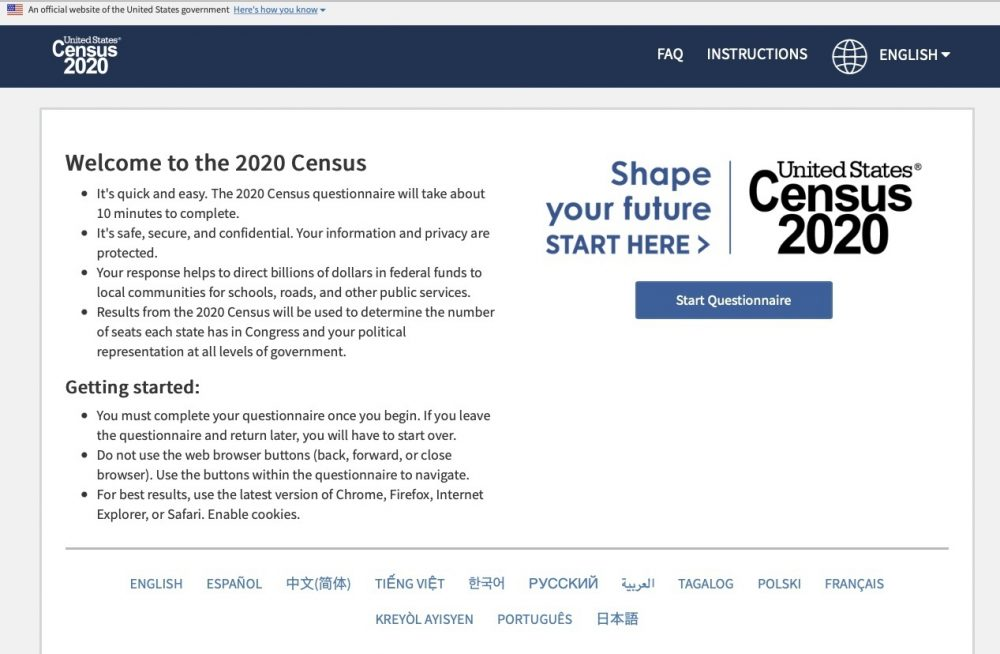 This photo provided by the U.S. Census 2020, shows the homepage of the United States' Census 2020 website on Tuesday, March 10, 2020.