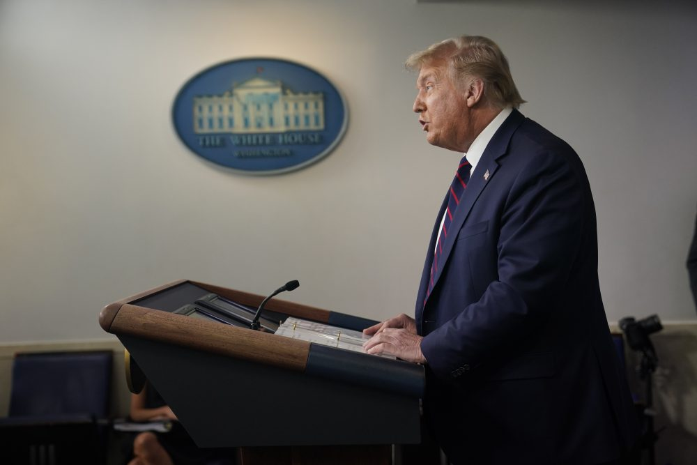 President Trump speaks during a news conference on Tuesday. He signed a memo that seeks to bar people in the U.S. illegally from being included in the headcount as congressional districts are redrawn.
