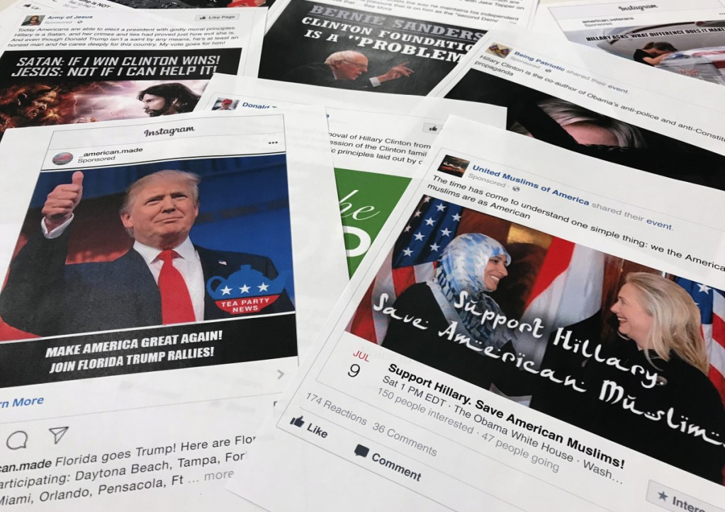 Some of the Facebook and Instagram ads linked to a Russian effort to disrupt the U.S. political process and stir tensions over social issues.
