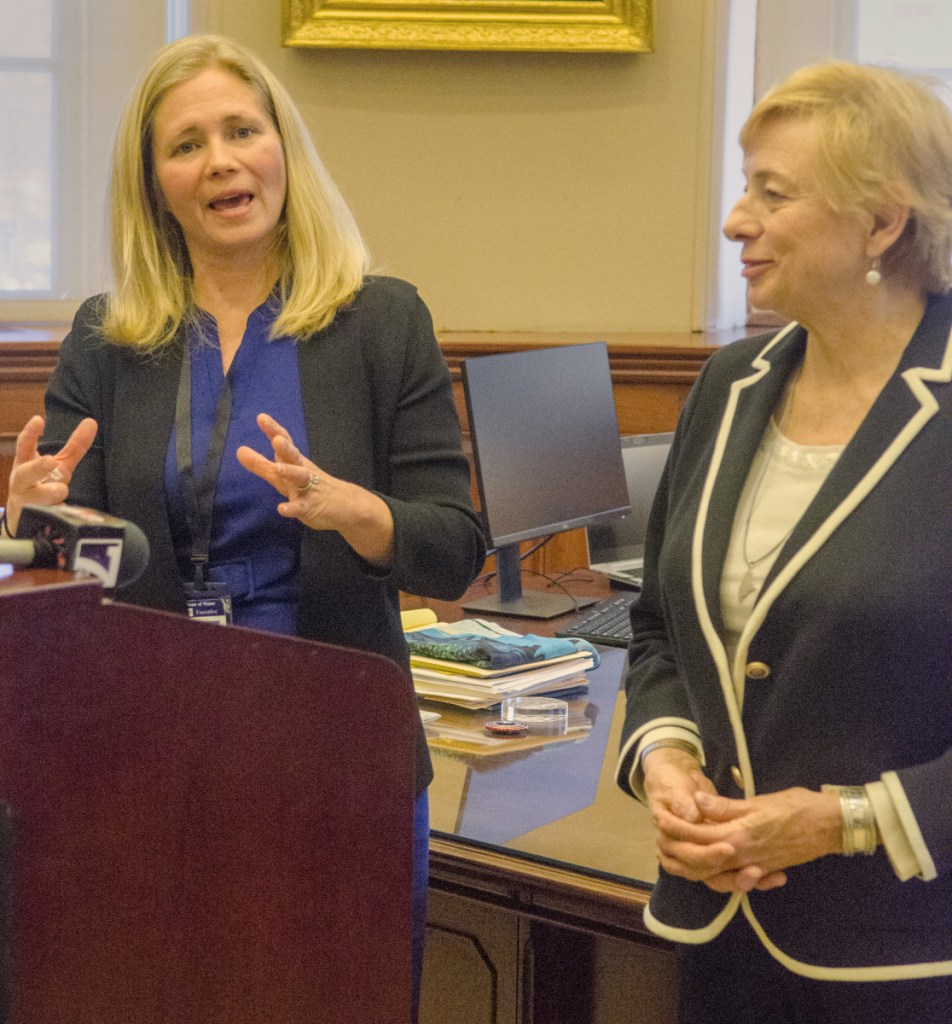 Hannah Pingree, left, and Gov. Janet Mills speak during a news conference to announce Pingree's appointment as head of the Office of Innovation and the Future.