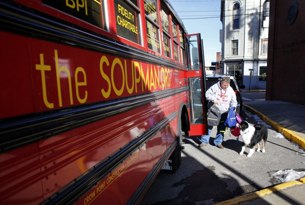 """Peter """"The Soupman"""" Kelleher is on a weeklong tour of Maine to help the homeless, including stops in Biddeford, Portland, Newport, Augusta and Bangor. His bus is packed with more than 1,500 backpacks that contain winter clothes and toiletries for the homeless."""