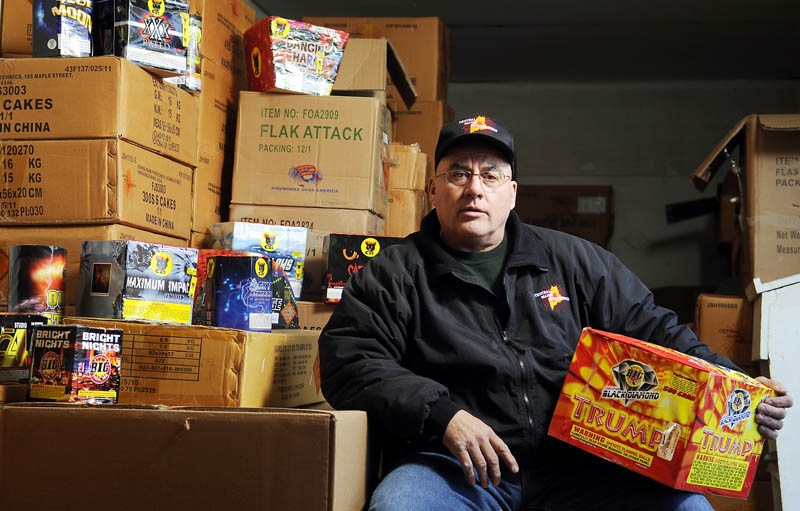 OPEN FOR BUSINESS: Steve Marson hopes to open several fireworks stores across the state. His company, Central Maine Pyrotechnics, is based in Hallowell and has a warehouse in Farmingdale.