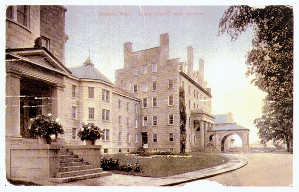 An old postcard shows the former Maine Insane Hospital in Augusta. AMHI