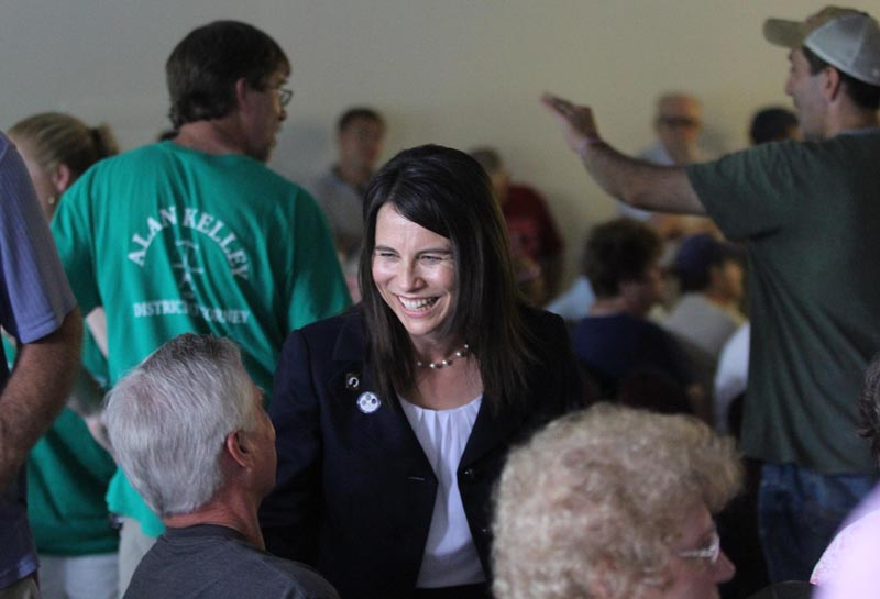 Rep. Maeghan Maloney, D-Augusta, chats with attorney Tom Tilton of Waterville prior to a special meeting to nominate either her or acting District Attorney Alan Kelley of West Gardiner as the Democrat candidate to succeed Evert Fowle. Maloney received the party nomination for district attorney. The meeting was held at the Poulin-Turner Union Hall in Skowhegan.