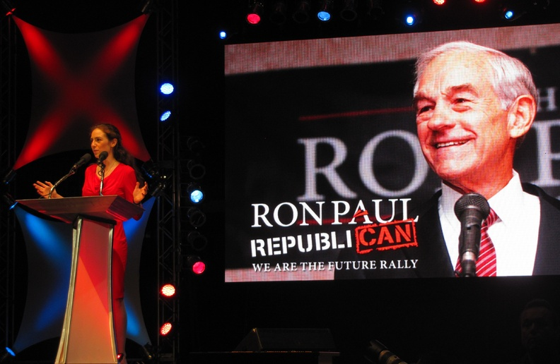 "Ashley Ryan of Maine speaks to Ron Paul supporters at the ""We Are the Future"" rally at the University of South Florida Sun Dome in Tampa, Fla., on Sunday. She urged the crowd to ""keep fighting"" and stay engaged in politics despite frustrations."