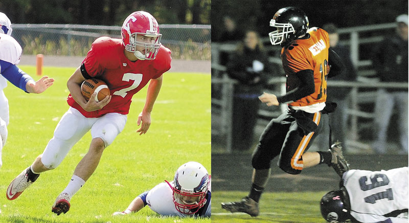 Staff file photos by Joe Phelan BIG GAME: Cony's Chandler Shostak, left, and Gardiner's Dennis Meehan, right, lead their teams into the 135th meeting between the two teams tonight in Gardiner.