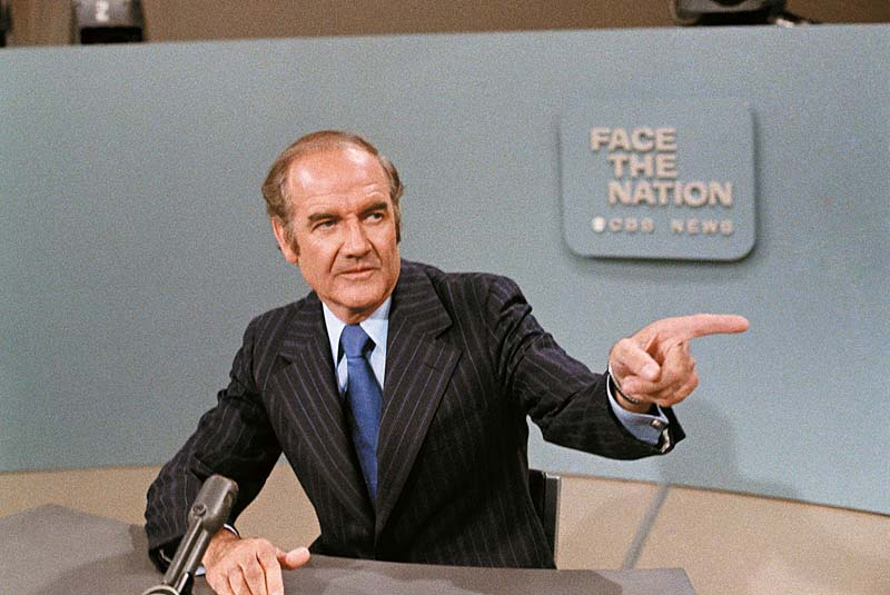 "In this photo taken May 28, 1972, U.S. Sen. George McGovern, D-S.D., is shown on TV 's ""Face the Nation."""