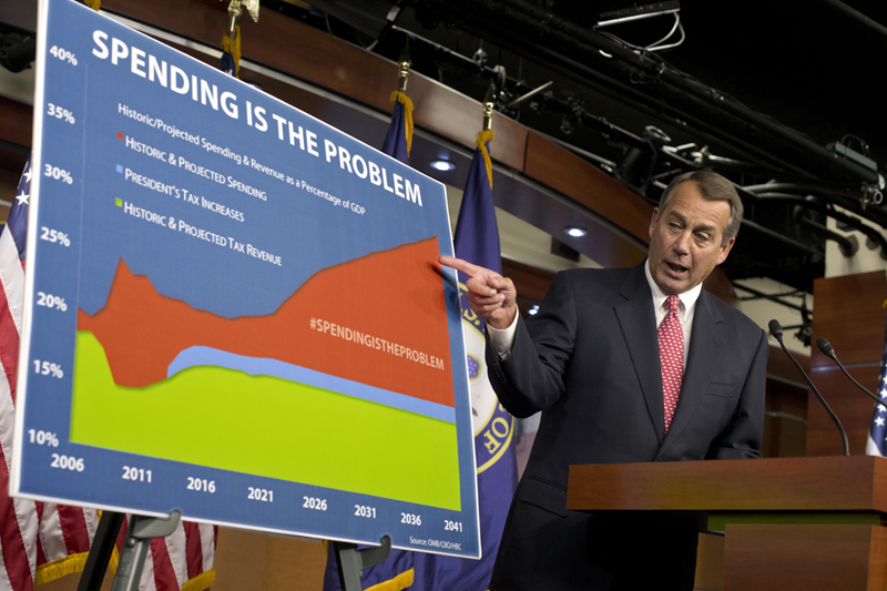 "House Speaker John Boehner of Ohio points to a chart to emphasize his talking point that government spending complicates negotiations on avoiding the so-called ""fiscal cliff"" during a news conference on Capitol Hill in Washington Dec. 13."