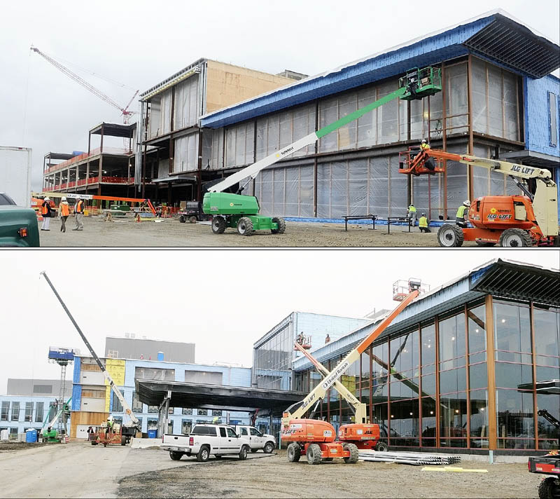 The top photo shows the front entrance of the new MaineGeneral regional hospital on May 22, in north Augusta. The bottom photo shows the same side of the new MaineGeneral regional hospital on Dec. 4.