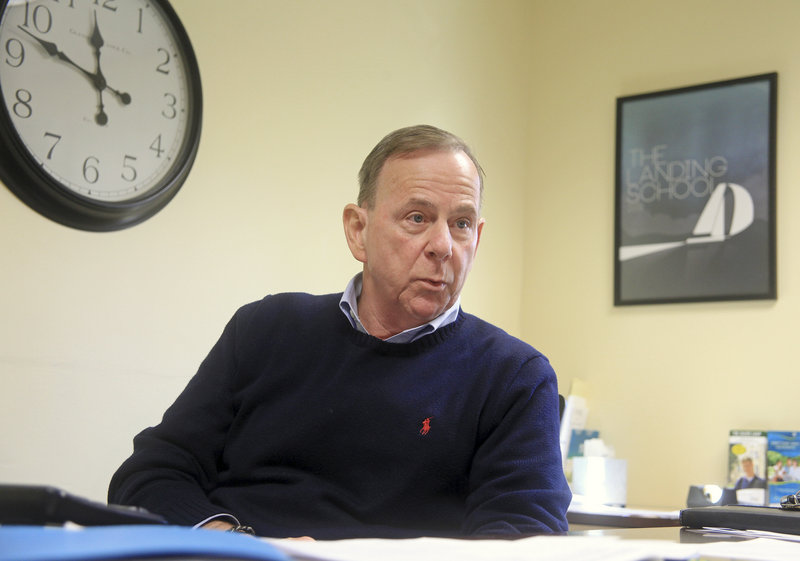 Robert DeColfmacker, president of the Landing School in Arundel, talks on Sunday about the disappearance of students Zachary Wells and Prescott Wright. He said Wells is studying marine systems and Wright is studying yacht design at the school.
