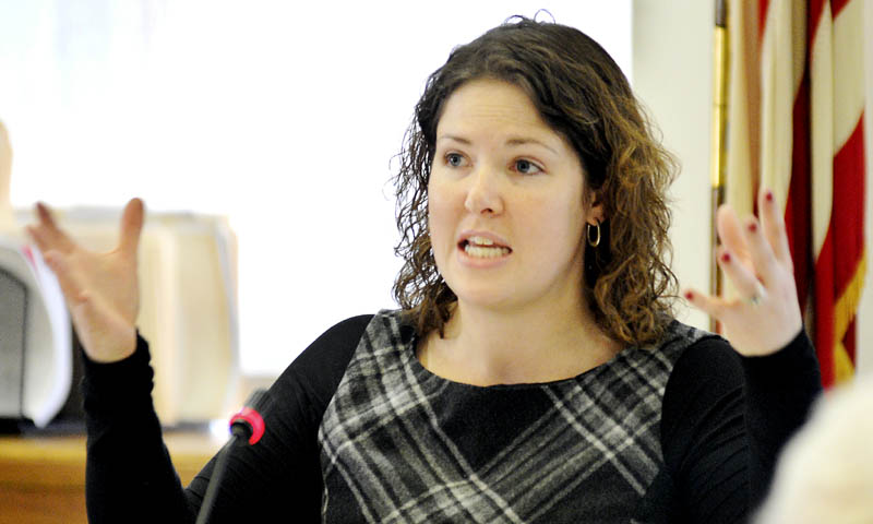 Sen. Emily Cain, D-Orono, asks Maine Commissioner of Education Stephen Bowen questions about projected state subsidies for school districts on Monday.