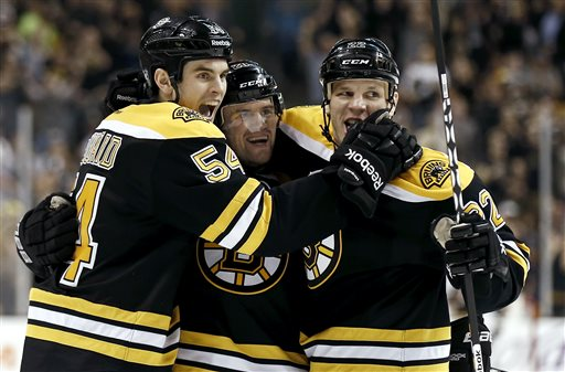 Boston Bruins' Daniel Paille, center, celebrates his goal with Shawn Thornton, right, and Adam McQuaid during the second period of a NHL hockey game against the Tampa Bay Lightning in Boston, Thursday, April 25, 2013. (AP Photo/Winslow Townson)