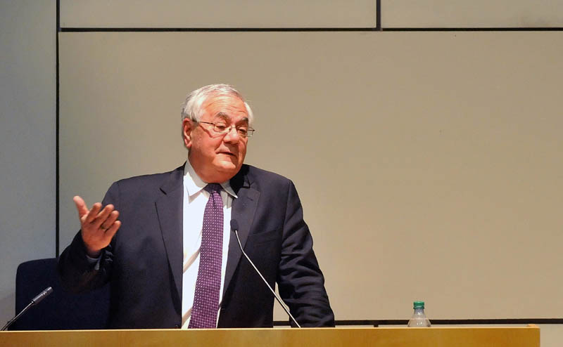 Former U.S. Rep. Barney Frank, D-Mass., speaks during the Colby College government department's spring lecture, at the Diamond building in Waterville, on Sunday.