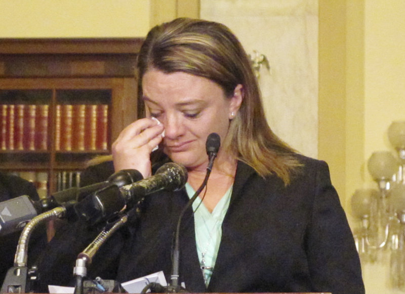 Jennifer Norris of Rumford wipes away what she said were tears of joy on Thursday in Washington, DC, as she discussed legislation that would revamp the way the military prosecutes sexual assault cases. Norris said she was raped and sexually assaulted several times during her Air Force career, including during her time with the Maine Air National Guard.